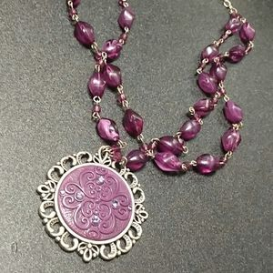 Purple revolution pewter pendant
